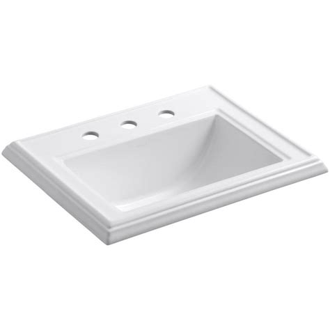 sink in bathroom shop kohler memoirs white drop in rectangular bathroom sink with overflow at lowes com