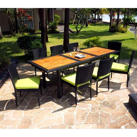 mobilier de jardin en teck mobilier de jardin en teck et resine tressee ensemble de jardin 10 chaises en resine