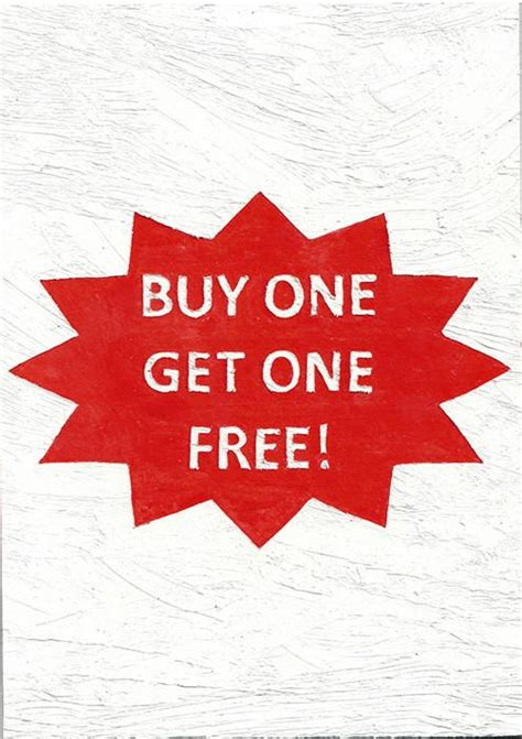 one free buy one get one free poster by michael landy barbican shop