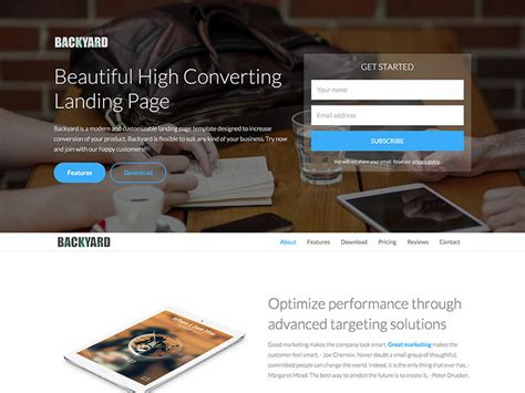 Backyard Free Bootstrap Landing Page Template Caign Landing Page Templates