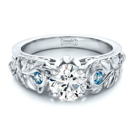Handmade Diamonds - custom organic and blue topaz engagement ring 100600