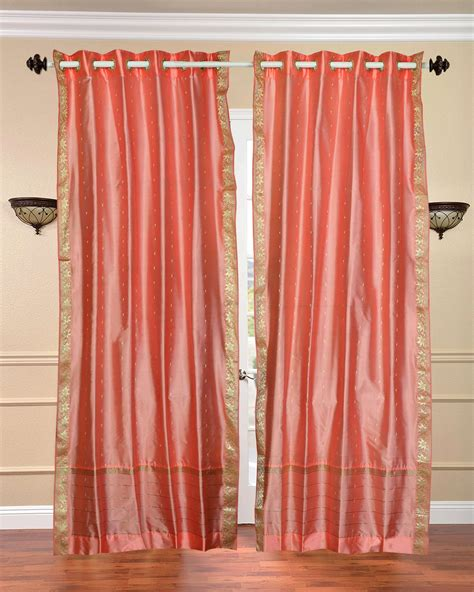 peach drapes peach pink ring top sheer sari curtain drape panel piece