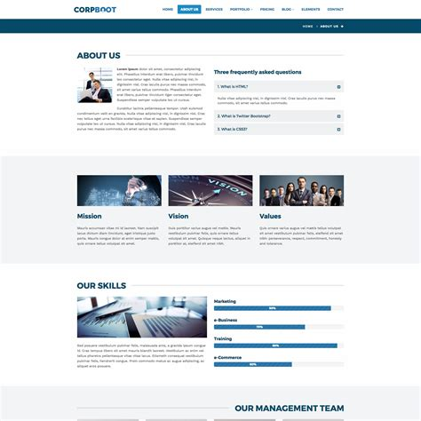 themeforest template corpboot corporate website template by rafamem themeforest