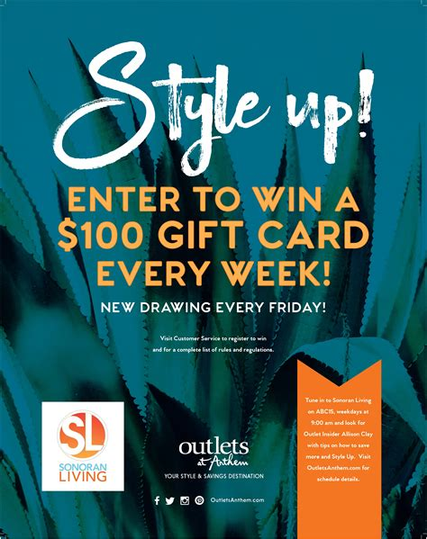 Enter To Win Gift Card - outlets at anthem style up enter to win a 100 gift card every week