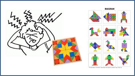 Puzzle Kayu Tangram tangram 44 mainan kayu