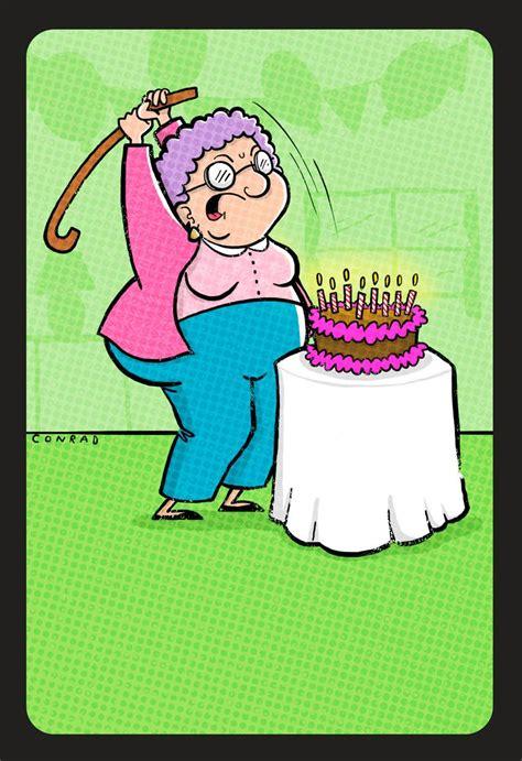 Cake Smashing Grandma Funny  Ee  Birthday Ee   Card Greeting Cards
