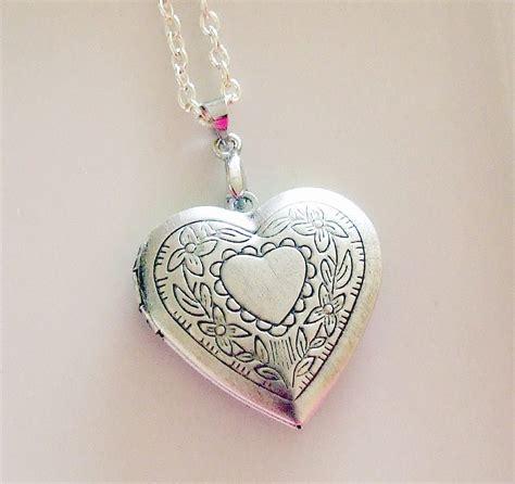 silver locket keepsake necklace silver ox plated