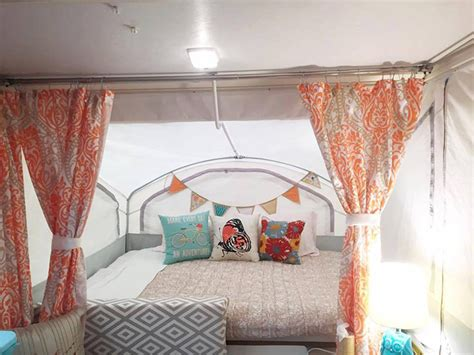 pop up cer curtains coleman redecorate a pop up trailer to glam perfection