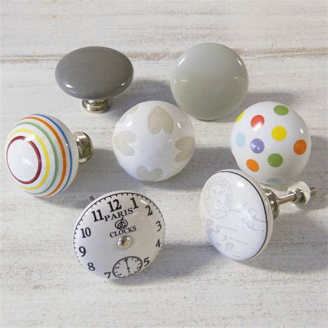 large vintage colourful ceramic cupboard knobs by