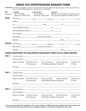 Sle Form Of Credit Investigation Credit Investigation Form Fill Printable Fillable Blank Pdffiller