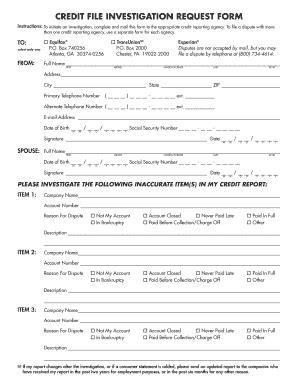 Credit Investigation Form Credit Investigation Form Fill Printable