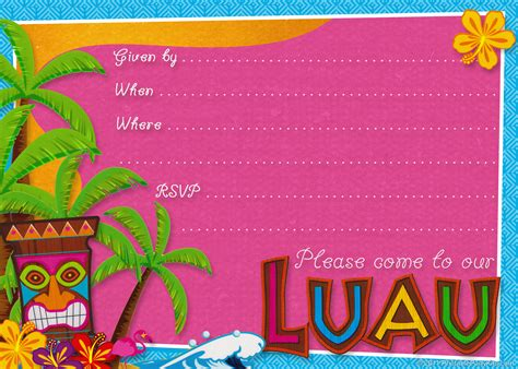 card template hawaian birthday 20 luau birthday invitations designs birthday