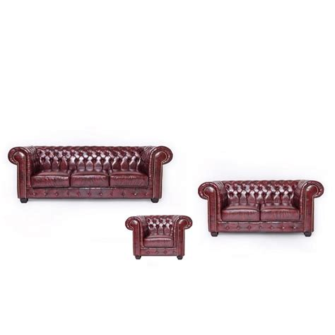 Chesterfield Sofa Set Hudson Chesterfield Sofa Set In Antique Brown Bonded