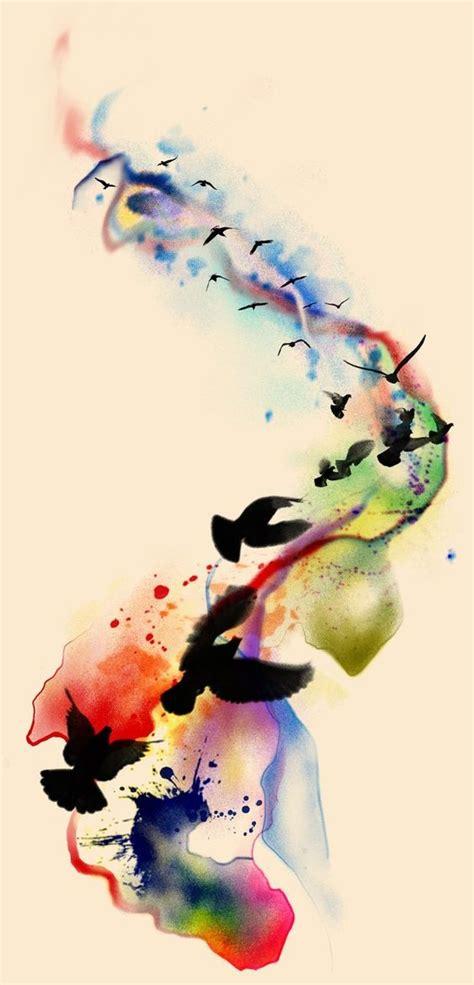 watercolor tattoos long term black bird flock flying on watercolor way