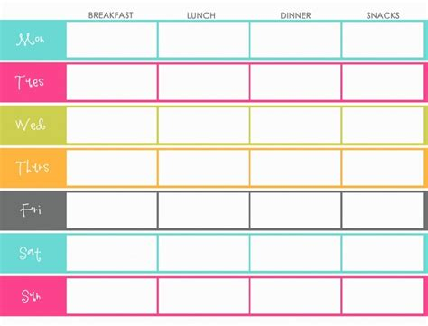 Weekly Menu Planning Template Color Colorful Breakfast Lunch Dinner And Snacks Menu Weekly Meal Planner Template With Snacks