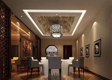 Dining Room Ceiling Ideas | modern dining room with wrapped ceiling design image