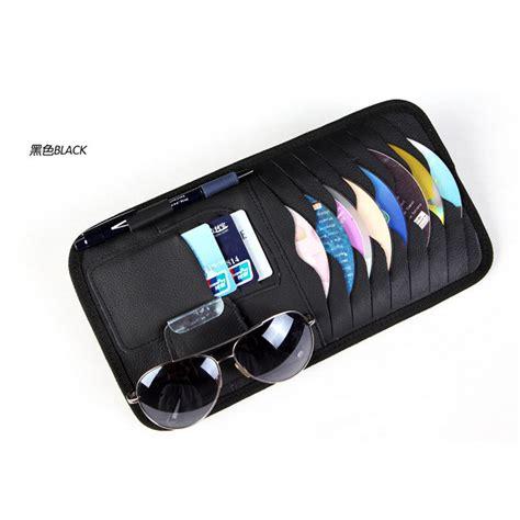 genuine leather car sun visor glass pen cd card holder for audi a2 a3 a4 a6 a8 a7 tt q3 q5