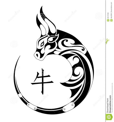 chinese ox tattoo designs ox tribal stock vector image of