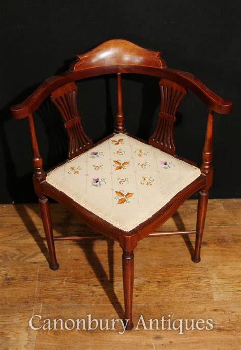 antique corner chair seat antique edwardian corner chair seat mahogany inlay 1910 ebay