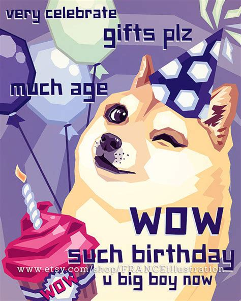 Meme Happy Birthday Card - sale happy birthday doge instant download from