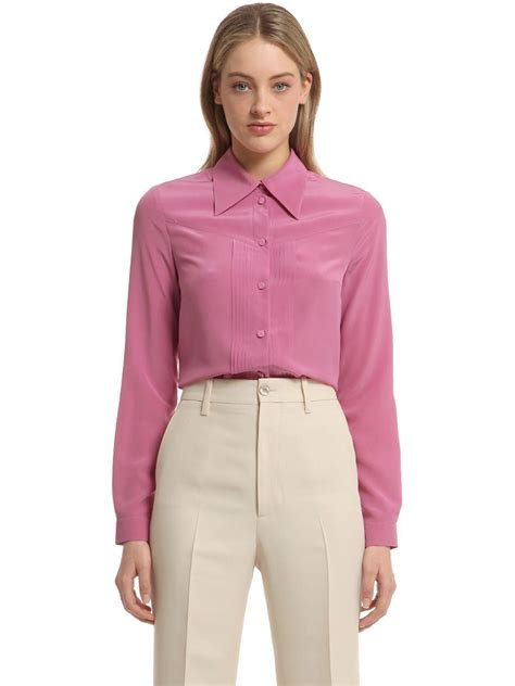 Ff Blouse Gucci 1 gucci silk crepe de chine shirt in pink lyst