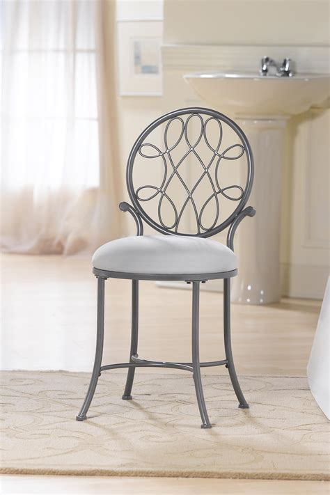 Grey Iron Bathroom Vanity Stool With Round Back And Fabric Bathroom Vanity Seat
