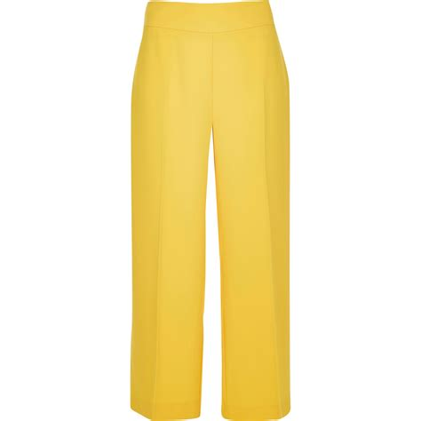 19213 Yellow Wide Leg Trousers river island yellow cropped wide leg in yellow lyst