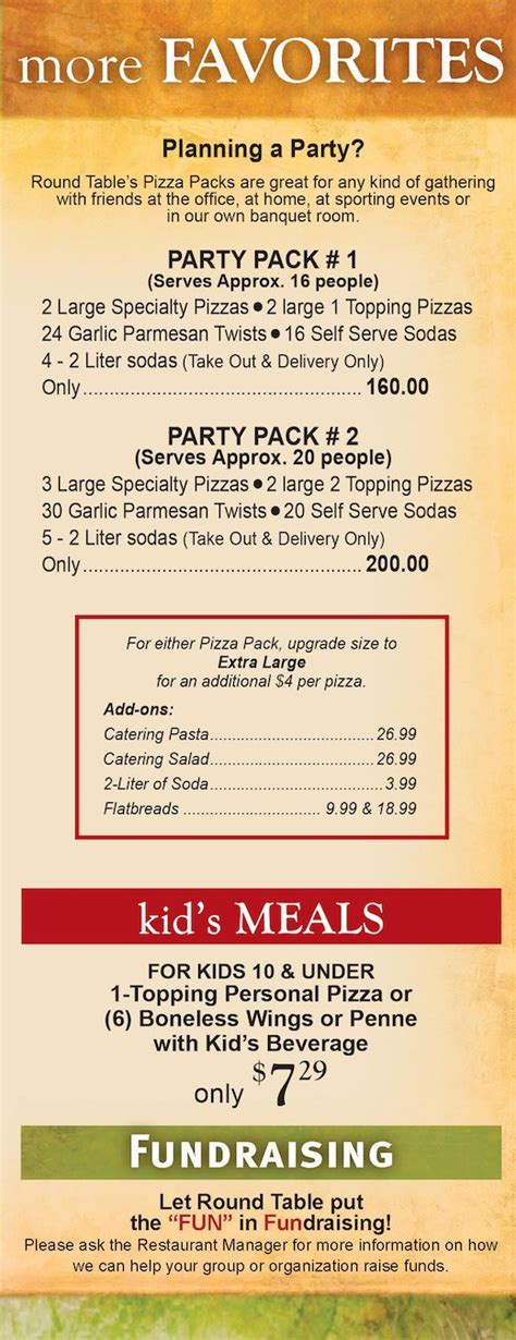 Table Menu Prices by Table Pizza Menu Prices