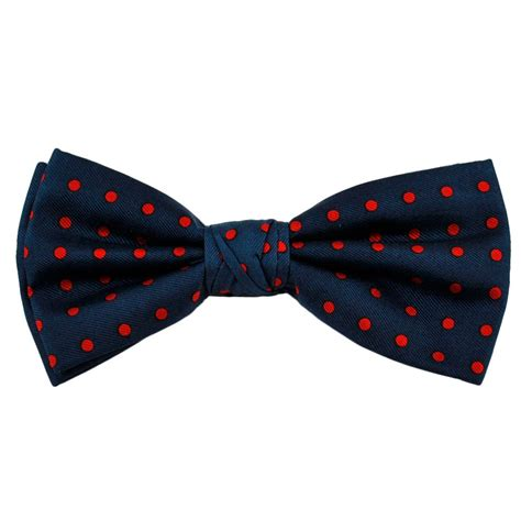 navy blue polka dot silk bow tie from ties planet uk