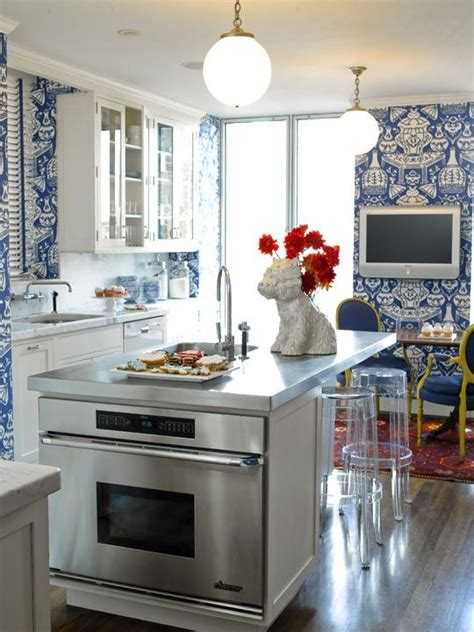 Kitchen Wallpaper Blue White | beautiful blue and white kitchen house on a hill