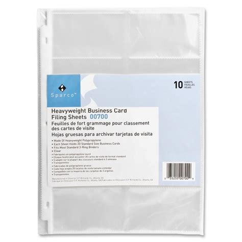 does officemax make business cards sparco 00700 3 ring business card sleeves 3 punched