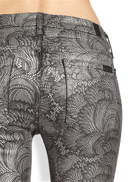 Gray Patterned Jeans | 7 for all mankind the skinny contour waistband metallic