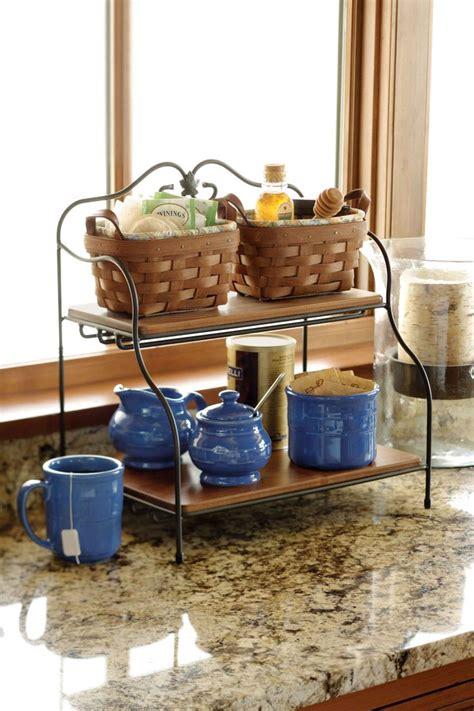 clever organizational solution for the kitchen tea station