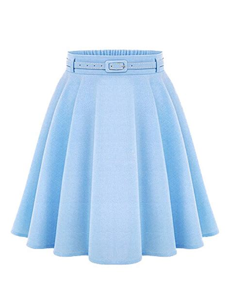 light blue high waist silky skater skirt from augustine s