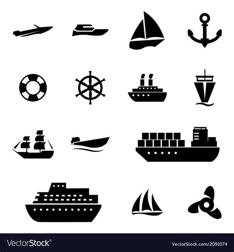 marine boat icon black ship and boat icons set royalty free vector image