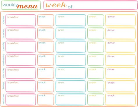 printable weekly menu planner with snacks 45 printable weekly meal planner templates kitty baby love