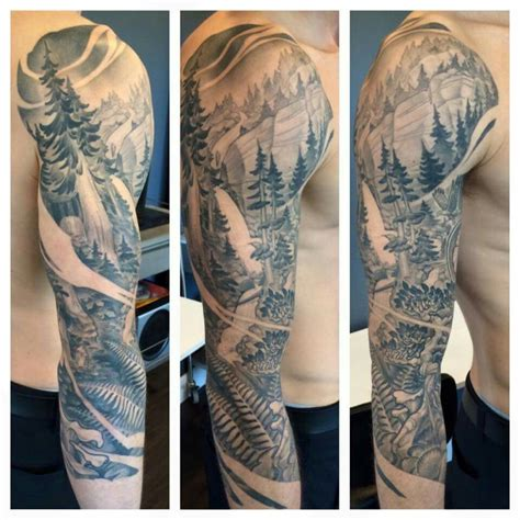 mountain tattoo sleeve west coast trees sleeve by teems black label tattoos