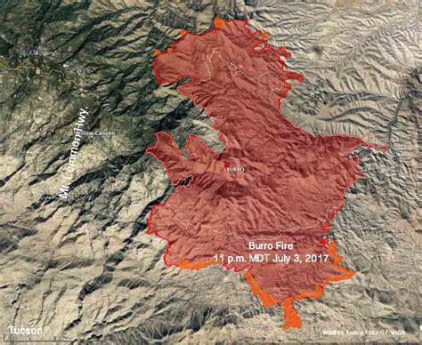 arizona wildfire map burro near tucson grows to 19 000 acres