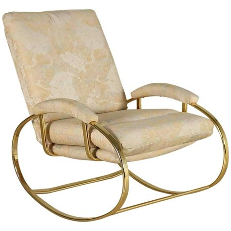 rocking chair brass plated metal foam padding fabric