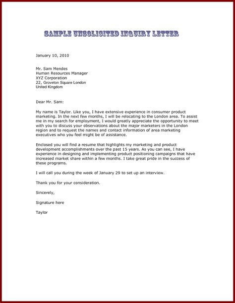application letter unsolicited sle unsolicited cover letter exles the best letter sle
