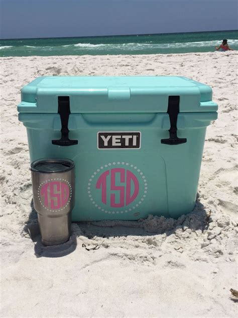 yeti coolers colors monogrammed seafoam yeti cooler and rambler i made it