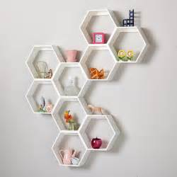 Honeycomb Bookshelves Honeycomb Wall Shelf White