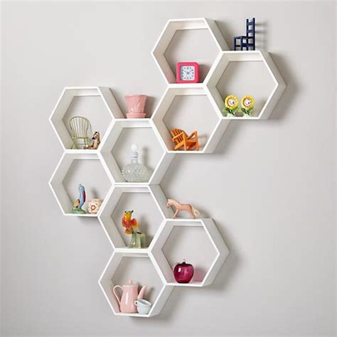 honeycomb wall shelf white