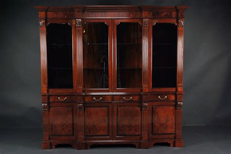 Mahogany China Cabinet, High End Antique Reproduction Breakfront