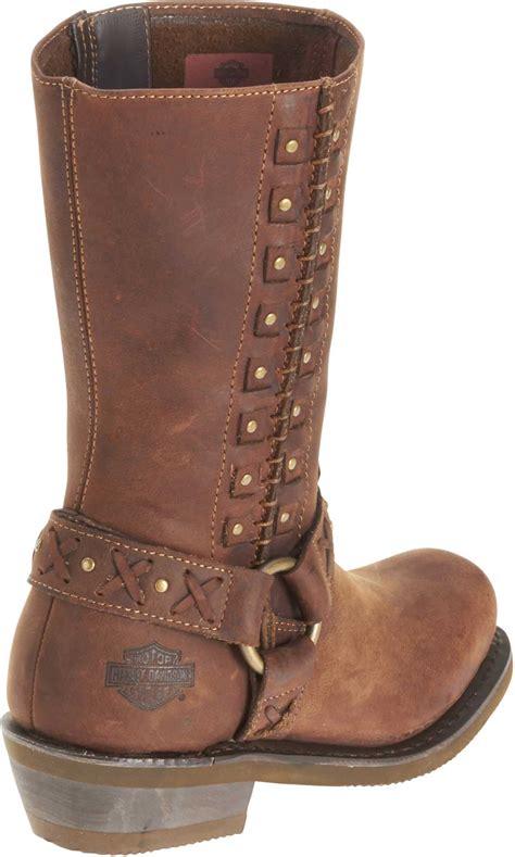 ladies brown leather biker boots harley davidson women s brown leather auburn harness stud