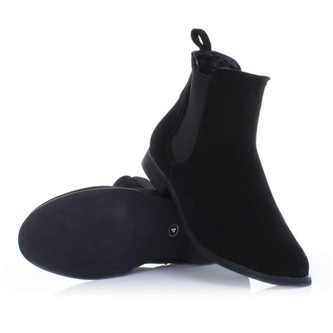 womens black suede look chelsea gusset flat pull on