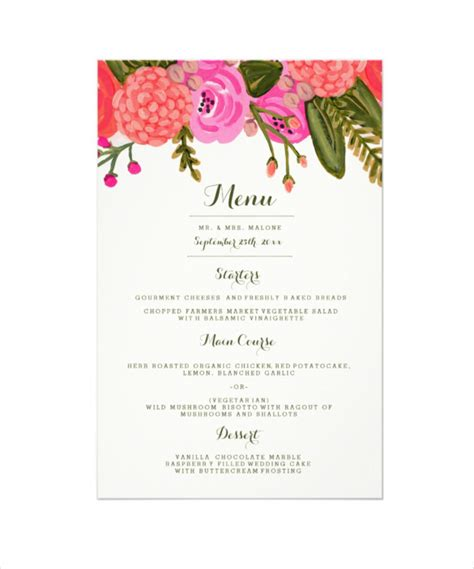 dinner menu templates wedding dinner menu template www pixshark images