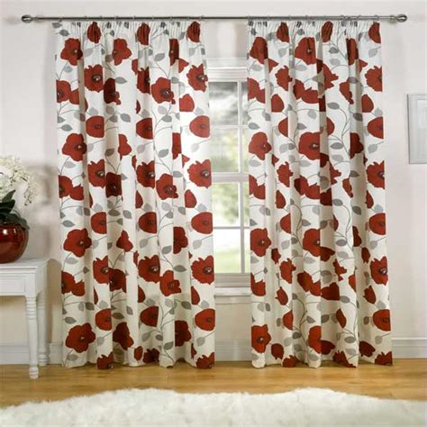 poppy kitchen curtains poppy floral print pencil pleat lined curtains 66 x 54 inch ebay