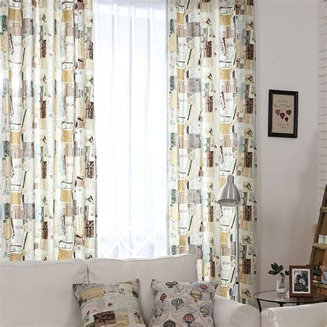 vintage drapes retro style curtains decorated with postcards patterns
