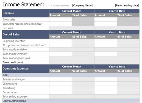 excel income statement template